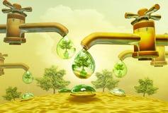 Waterdalingen uit waterkranen Stock Afbeelding