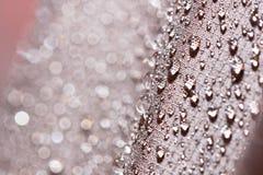 Waterdichte textielstof met regendalingen Royalty-vrije Stock Foto