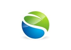 Waterdrop, φύλλο, λογότυπο, κύκλος, φυτό, άνοιξη, σύμβολο τοπίων φύσης, σφαιρική φύση, εικονίδιο γραμμάτων s Στοκ Εικόνες