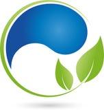 Waterdrop et logo de feuilles, d'usine, d'écologie et de bien-être Photographie stock