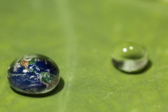 Waterdrop on a leaf reflecting earth concept Stock Photo