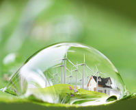Waterdrop reflexion på det gröna bladet Fotografering för Bildbyråer