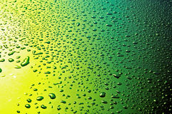Waterdrops. On yellow green faded background from above royalty free stock image