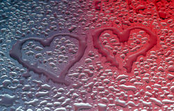 Waterdrops form hearts Stock Photos