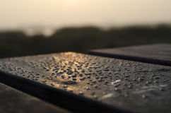 Waterdrops in front of the sunrise. Waterdrops on a beautiful sunrise stock image