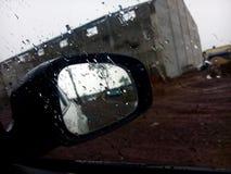 Waterdrops on Glass. Waterdrops on car side window & rain stock photography