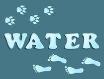 Waterdrops odcisk stopy Obrazy Stock