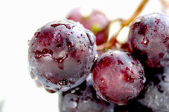 Waterdrops on a Ripe red grape, macro Stock Photos