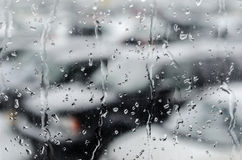 Waterdrops After Snowfall at the Car Window Stock Image