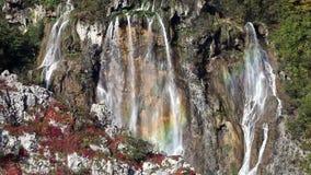 Waterfal在普利特维采湖群国家公园在克罗地亚 股票视频