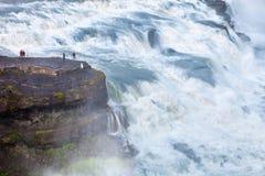 waterfal的古佛斯瀑布,冰岛 库存图片