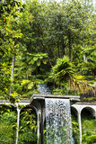 Waterfal dans un beau jardin chez Monte au-dessus de Funchal Madère Images libres de droits