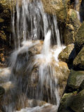 Waterfall. A small rocky waterfall at a zoo stock images