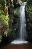 Waterfall. In  czech mountain, vertically framed picture royalty free stock images