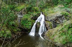 Waterfall. Sitting lady waterfall in witty's lagoon regional park, vancouver island, bc, canada Royalty Free Stock Images