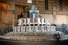Waterfall. Fountain in the main square of Perugia, Italy Royalty Free Stock Photos
