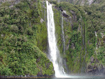 Waterfall. One of many waterfalls at the stunning Milford Sound on New Zealand's south island Royalty Free Stock Photo