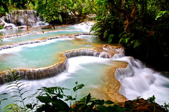 Waterfall. This is the top waterfall of Lao Stock Image