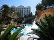 Waterfall. Pool and waterfall at casino Stock Images