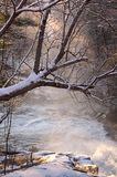 Waterfall. During sunrise in winter Stock Image