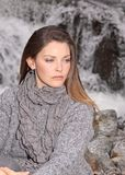 Waterfall. Beauty woman in front a waterfall Stock Photos