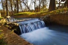Waterfall. In Retiro park Madrid stock photo