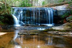 Waterfall. Wildcatters Wayside, a small waterfall just off hwy 276 in the mountains of SC. Taken just after sun up Royalty Free Stock Images