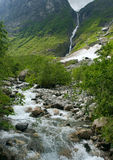 Waterfall. In mountains of Norway Stock Images