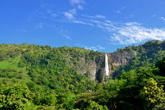 The waterfall. With the mountains in the country of Sri Lanka Royalty Free Stock Images