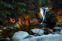 Waterfall. Night view on the waterfall Szklarka in Karkonosze mountain in Poland, Europe Stock Image