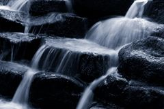 Waterfall. A cold river waterfall flowing over rocks Royalty Free Stock Photography
