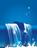 Waterfall. Small waterfall in blue tone Royalty Free Stock Image