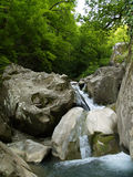 Waterfall. In mountain and green woods Royalty Free Stock Images