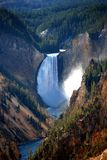 Waterfall. View of Lower Falls in Yellowstone park Stock Photo