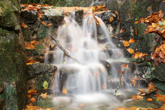 Waterfall. In stream in autumn with long exposure time Stock Photos