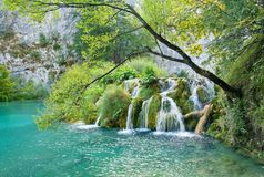 Waterfall. Small lake and waterfall in the Plitvice national park (Plitvicka jezera), Croatia Royalty Free Stock Photo