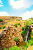 Waterfall. Wild Landscape With Gilboa Waterfall, Golan Heights Royalty Free Stock Photo