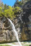 Waterfall in Aare gorge. Hiking in Aare mountain gorge. Switzerland stock photos