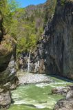 Waterfall in Aare gorge. Hiking in Aare mountain gorge. Switzerland stock image