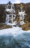 Waterfall Acquafraggia also Acqua Fraggia in province of Sondrio in Lombardy, north Italy Royalty Free Stock Photo