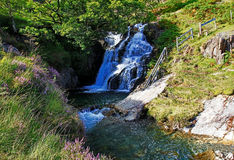 Waterfall on Afon Cwm Llan Mountain Stream, Snowdon Stock Photos