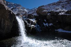 Waterfall in the African mountains. Waterfall on the way to the mt Toubkal. Highest mountain in the North Africa. Morocco. High-Atlas Royalty Free Stock Photography