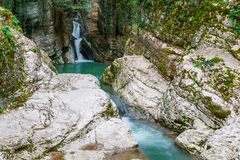 Waterfall on the Agura River in Sochi Royalty Free Stock Photo
