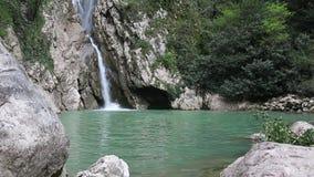 Waterfall on the Agura River in Sochi stock video