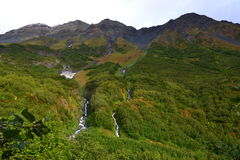 Waterfall of Alaska Seward Harding Ice field Royalty Free Stock Images