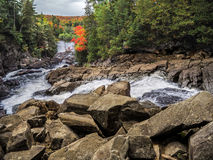 Waterfall In Algonquin Provincial Park. Forest Hiking Trail Stock Photo