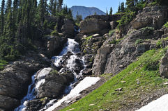 Waterfall Along Going to the Sun Road Stock Photos