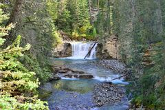 Waterfall along the Icefields Parkway in the Canadian Rockies between Banff and Jasper. In the fall stock image