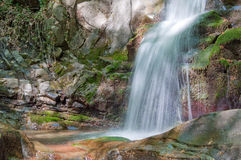 Waterfall along mountain stream Royalty Free Stock Image