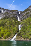 A waterfall  along the Sognefjord in Norway Stock Photos